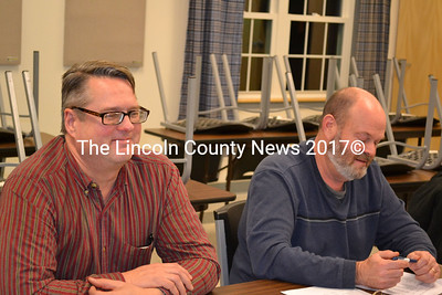 From left: Whitefield EMS Chief Lynn Talacko and Fire Chief Scott Higgins submit the fire and rescue budget to board of selectmen Dec. 23. (Abigail Adams photo)