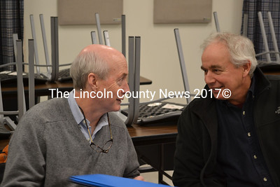 From left: Andrew Goode, of the Atlantic Salmon Federation, and Steve Patton, of the Sheepscot Valley Conservation Association, talk to the Whitefield Board of Selectmen about removing or modifying Coopers Mills Dam to facilitate fish passage on Dec. 23. Goode and Patton are also discussing a similar initiative in Alna for Head Tide Dam. (Abigail Adams photo)