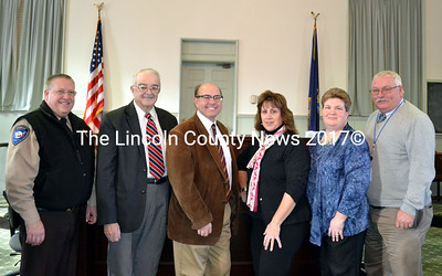 Lincoln County officials pose with Maine Secretary of State Matthew Dunlap (third from left) after their swearing-in ceremony Friday, Jan. 2. From left: Sheriff Todd Brackett, Commissioner William Blodgett, Dunlap, Registrar of Deeds Rebecca Wotton, Register of Probate Catherine Moore, and Treasurer Richard Newell. (Charlotte Boynton photo)