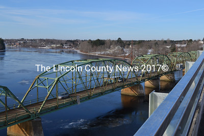 The Dresden-Richmond bridge, from the Maine Kennebec bridge, Dec. 5.  Under construction since July 2013, the Maine Kennebec Bridge has been completed earlier than the anticipated July 2015 date, according to the DOT. The DOT plans to remove the Dresden-Richmond Bridge in the summer of 2015. (Michelle Switzer photo)
