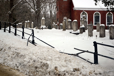The fence around the cemetery adjacent to historic St. Patrick's Catholic Church in Newcastle shows substantial damage Tuesday, Jan. 6. The cause of the damage was not clear. Church officials were not available for comment. (Michelle Switzer photo)
