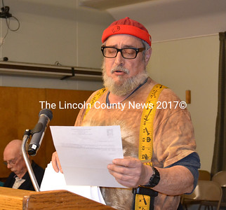 Big Al's owner Al Cohen  presents evidence to the Wiscasset Planning Board regaridng his right to store fireworks at his warehouse. (Charlotte Boynton photo)