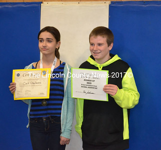 Bristol Geography Bee winner, eighth grader Cait-Jolie Chalmers, and runner-up, seventh grader Zack Farrin, pose with certificates after the competition, Jan. 9.