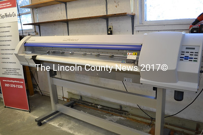 This 54-inch Roland eco-solvent printer is among the new equipment at Island Sign Works' new location on Old Ferry Road in Wiscasset. (Charlotte Boynton photo)