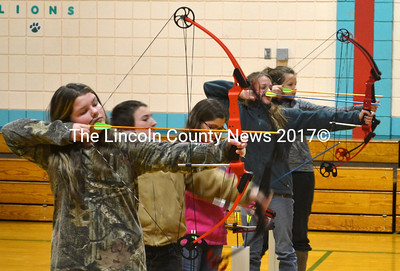 Nobleboro Central School students practice archery Jan. 9 as part of Be A Learner, a new program which, among other things, allows students in grades 6-8 to take additional physical education and art classes each week. (D. Lobkowicz photo)
