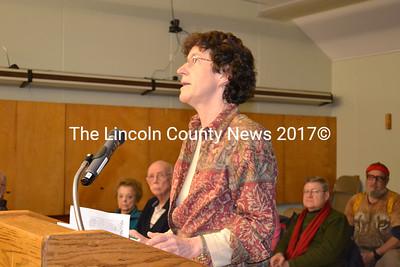 Kathleen Bryant addresses the Wiscasset Planning Board Jan. 12.  (Charlotte Boynton photo)
