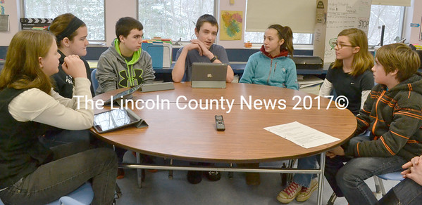 Nobleboro Central School students discuss the new Be A Learner program Jan. 9. From left: Rachael Schuster, Isabelle Sawyer, Bryce York, Nathan Theroux, Aubree Cookson, Quinn Hunold, and Scott Petersen. (D. Lobkowicz photo)