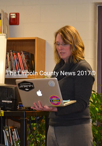Great Salt Bay School third grade teacher Jennifer Gregg presents the new teaching method TalkScience and the new curriculum Next Generation to the school committee during a meeting Jan. 14. (Michelle Switzer photo)