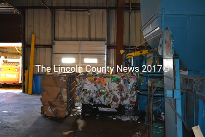 The baler at the Lincoln County recycling center in Wiscasset on Jan. 16. Recycling is collected at the transfer stations the program serves and consolidated and processed at the center for sale. (Abigail Adams photo)