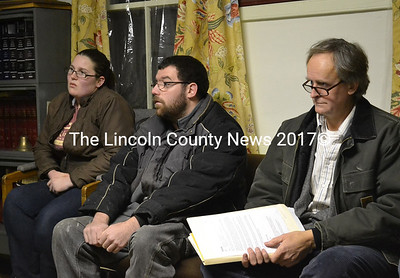 From left: Nicole Moore, Moore's partner Ray Lemar, and attorney Nathaniel Hussey at the Alna selectmen's meeting Jan. 15. (Abigail Adams photo)