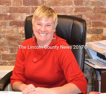 Ruth Etheridge sits in her Village Travel office, 157 Main St. lower level, Damariscotta, Jan. 19.. (Michelle Switzer photo)