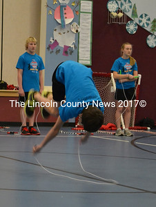A member of the Spindrifters flips, twirls, and turns during the group's performance at the Edgecomb Eddy School on Jan. 13. (Abigail Adams photo)