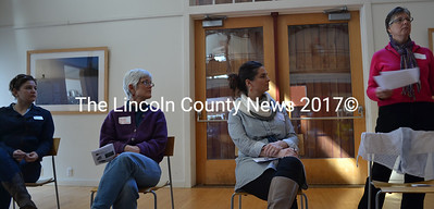 "From Left: Sara Trunzo, of Veggies For All, Barbara Murphy, of University of Maine Harvest for Hunger, Anni Pat McKenney, of Healthy Lincoln County, and Mary Turner, of the Mid Coast Hunger Prevention Program, kick of the first ""Local Food, Local Hunger"" forum with a panel discussion at the Center for Environmental Education at Chewonki in Wiscasset Saturday, March 7. (Abigail Adams photo)"