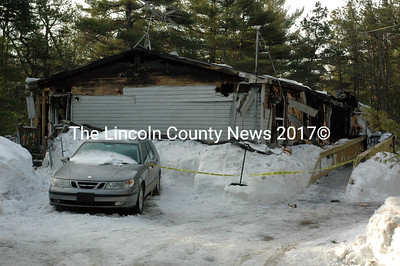 Fire destroyed this double-wide mobile home at 86 Ryder Trail in Boothbay Saturday, March 7. (J.W. Oliver photo)
