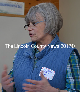 "Mary Ellen Barnes, of the Lincoln County Regional Planning Commission, presents the findings of the 2014-2015 Lincoln County Community Needs Assessment report at the ""Local Food, Local Hunger"" forum in Wiscasset Saturday, March 7. (Abigail Adams photo)"
