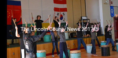 The Taiko Club of Hall-Dale High School performed traditional Japanese drumming at Whitefield Elementary School's sixth annual Diversity Day, Friday, March 6. (Abigail Adams photo)