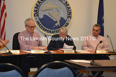 Three Damariscotta selectmen were present for the harbor management and shellfish conservation ordinance public hearings March 4. From left: Chairman Ronn Orenstein, David Atwater, and James Cosgrove. (Michelle Switzer photo)