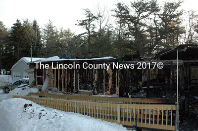 Fire destroyed this mobile home in Boothbay Saturday, March 7. The fire originated in the living room, although the precise cause remains unknown. (J.W. Oliver photo)