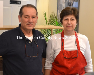 Charlie and Besy Koutsikos, co-owners of the new Waldoboro House of Pizza. (D. Lobkowicz photo)