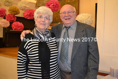 Jerry and Carole Bodmer at their 50th wedding anniversary party at the Westport Island Town Hall Friday, April 3. The Bodmers married in Franklin Mass. April 3, 1965. (Charlotte Boynton photo)