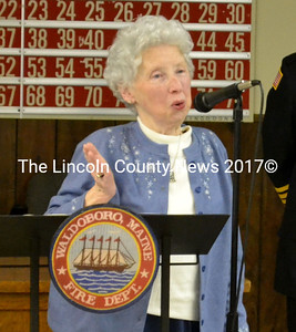 Jean Lawrence was honored with the Solomon Orff Community Service Award at the Waldoboro Fire Department's annual recognition night. (D. Lobkowicz photo)