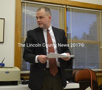 RSU 12 School Superintendent Howard Tuttle, addresses the Westport Island Board of Selectmen meeting April 6. (Charlotte Boynton photo)