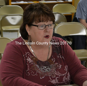 Marian Anderson announced her resignation as Edgecomb's Code Enforcement Officer at the selectmen's meeting Monday, April 6 and submitted a proposal to share code enforcement officer services with Wiscasset. (Abigail Adams photo)