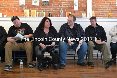 The Waldoboro Theatre's four-member board met with the public April 1 to discuss the theater's status and potential paths forward. From left, Brad Fillion, President Melissa Hearth, Secretary Chrys Hearth, and Tod Widdecombe. (D. Lobkowicz photo)