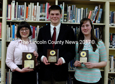 Speak Out regional finalists, from left: Alexandra Welch, first place; Ed Frankonis, second place; and Emily Hodgdon, third place. (Eleanor Cade Busby photo)