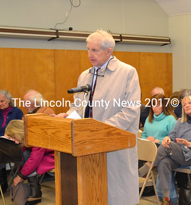 Attorney Peter Murray addresses the Wiscasset Board of Selectmen Tuesday, April 7. Murray submitted a proposal to study local and state measures to generate tax and other revenues from tje Maine Yankee Independent Spent Fuel Storage Facility. (Charlotte Boynton photo)