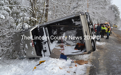 This Chevrolet Silverado rolled over near 2668 Washington Rd. in Waldoboro the morning of April 9. (D. Lobkowicz photo)