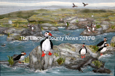 """Marilyn Ingham's Puffin-themed piece is called """"Summer Tourists."""" (Eleanor Cade Busby photo)"""