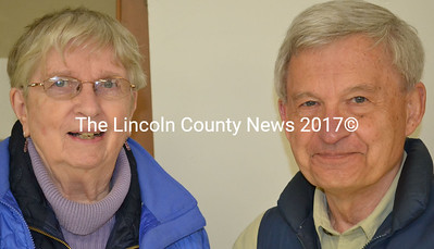 RSU 12 finance committee members Sandra Crehore, from Westport Island, and Jerry Nault, from Windsor, at the Alna Board of Selectmen's meeting April 8. (Abigail Adams photo)