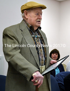 Eugene Walsh addresses the Newcastle Board of Selectmen after accepting the Boston Post Cane Monday, April 13. (J.W. Oliver photo)