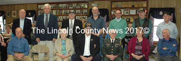 The honorees at the Quilts of Valor presentation on Sunday at Wells-Hussey American Legion Post 42 in Damariscotta. The quilts presented were made by the Lincoln County Quilters to honor our service men and women. This is the fifth year they have presented quilts and this year they passed the 100 quilt mark. According to their website, Quilts of Valor have presented over one million quilts nationally as of this presentation. (Eleanor Cade Busby photo)