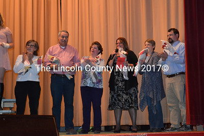 The coordinators who put the Wiscasset Middle School Variety Show together take their bows at the final curtain call April 15. They were each presented with flowers from the cast. Shown from left to right: Nancy Erkman, lighting; Roger Whitney, sound; Carole Drury, chorale; Cindy Collamore, director; Stacy Souza lighting and publicity; and Jason Drake, fundraising and publicity. (Charlotte Boynton photo)