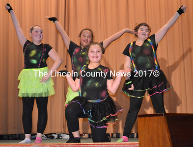 Dancers Latisha Wright, Jasmine Rego, Hailey Talbert, and D'Nisha Dawkins perform during the middle school variety show April 15. (Charlotte Boynton photo)