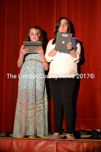 The Wiscasset Middle School Variety Show's Masters of Ceremonies, Jade Rego, left, and Shannon James, did a great job introducing the artists throughout the show. (Charlotte Boynton photo)