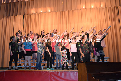 """The final Wiscasset Middle School Variety Show closes with full cast singing """"Shooting Star."""" (Charlotte Boynton photo)"""