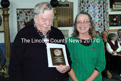 Lou Cook and Ellie Simmons proudly show off the Spirit of America award they accepted on behalf of the Waldoboro/Bremen Food Pantry April 27. Meenagha Grange honored the pantry with the award, which recognizes volunteerism within the community. (Laurie McBurnie photo)