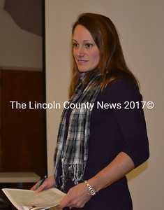 Eddy School Committee chair Sarah Clifford introduces the school's 2015-2016 budget at a public meeting held in Edgecomb April 27. (Abigail Adams photo)