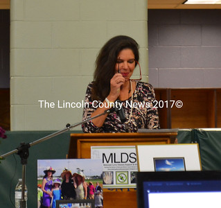 """The Midcoast Maine Lyme Conference emcee Katina Makris, a Lyme Disease survivor, and award winning author of """"Out of the Wood"""" introduced the guest speakers at the conference, and related her personal story. (Charlotte Boynton photo)"""