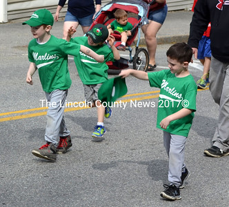 Members of the Marlins T-ball team march in the Waldoboro Memorial Day parade. (D. Lobkowicz photo)