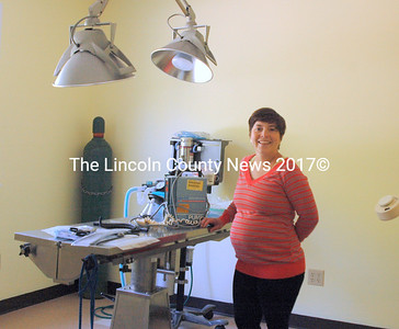 Dr. Stacey Contakos shows off the surgical suite at the new Midcoast Animal Emergency Clinic in Warren on Friday, May 22. (Eleanor Cade Busby photo)