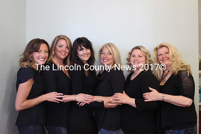 Aura Hair Designs staff. From left: stylist Rachel Osier, owner and stylist Natashia Garber, aesthetician and certified lash extentionist Talya Corsetti, nail technician Cathi Bertin, stylist Brittany Dickenson, and nail technician Judy Colgan. (Olivia Canny photo)