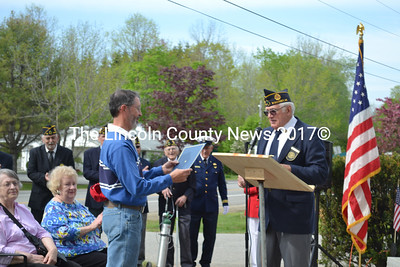 The Bradford-Sortwell-Wright American Legion Post recognized World War II veteran George Jones, for his 68 years of membership in the American Legion.  Donald Jones accepted the award on behalf of his father, at the Wiscasset's Memorial Service during Wiscasset's Memorial Day Service Monday, May 25. (Charlotte Boynton photo)