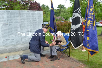 During Wiscasset's Memorial Day Service Monday, May 25, Bradford-Sortwell-Wright American Legion Post Commander William Cossette presents Ruth Applin, 98, with a certificate of appreciation in recognition of her service advancing the Legion's programs for many years. (Charlotte Boynton photo)