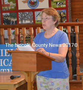 Cathy Sell speaks about the 35 Whitefield soldiers who fought for the Union as part of Company F, during Whitefield's Memorial Day celebration Monday, May 25. The family names of the soldiers are familiar ones in Whitefield. (Abigail Adams photo)