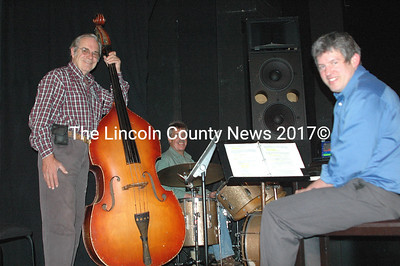 The H.E.Y. Makers: Chuck McGregor, double bass; Allen Millet, drums, and Sean Fleming, music director and keyboards. (Eleanor Cade Busby photo)