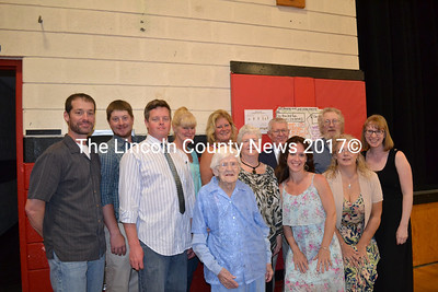 Members of the Applin family attend the Wiscasset Alumni Banquet honoring the matriarch of the family, Ruth Applin (center), who celebrated the 80th anniversary of her high school graduation and the proclamation of Ruth Applin Day. (Charlotte Boynton photo)
